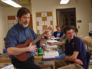 Walter Smith serenades a class