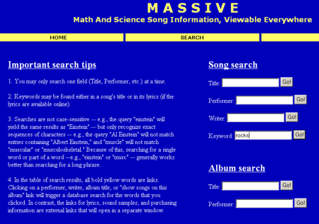 MASSIVE search page, circa 2004